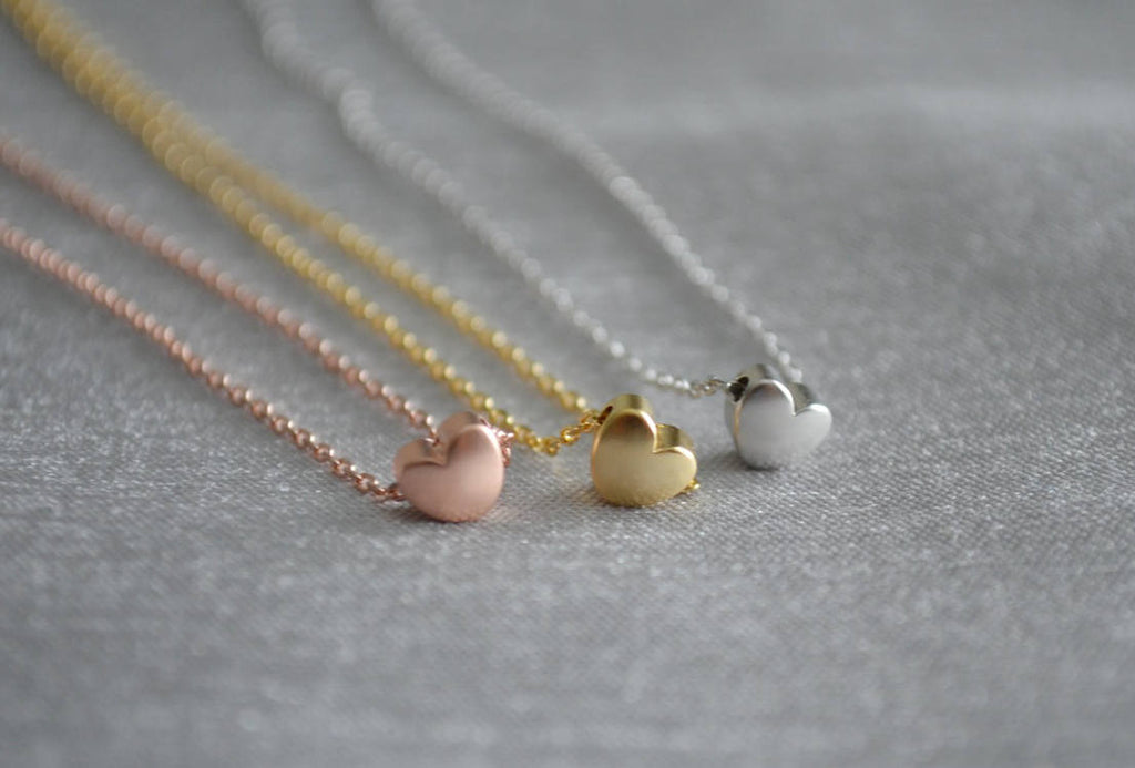 Heart Necklace - In Gold, Silver, or Rose Gold  - Gift Boxed