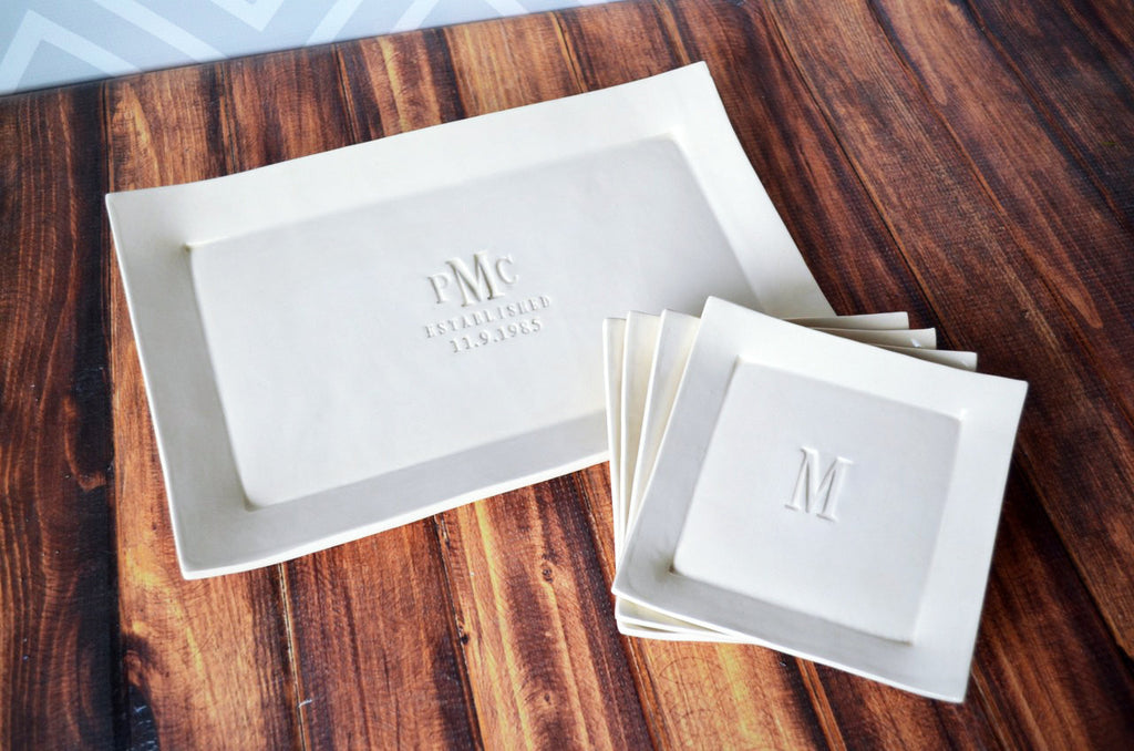 Personalized Wedding Gift - Rectangular Wedding Platter with Set of 4 Appetizer Plates