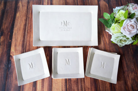 Personalized Wedding Gift - Rectangular Wedding Platter with Set of 6 Appetizer Plates - Gift Boxed