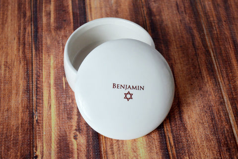 Personalized Bar Mitzvah Gift or Bat Mitzvah Gift  - Round Keepsake Box - With Gift Box