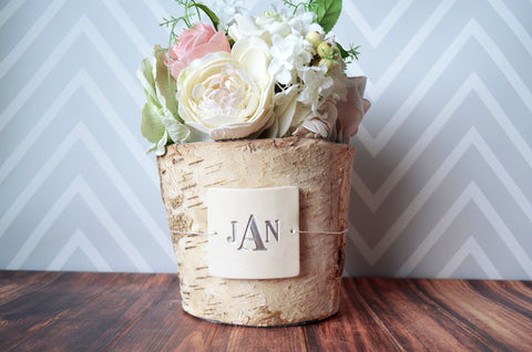 PERSONALIZED Wedding Gift - Monogrammed Round Birch Vase