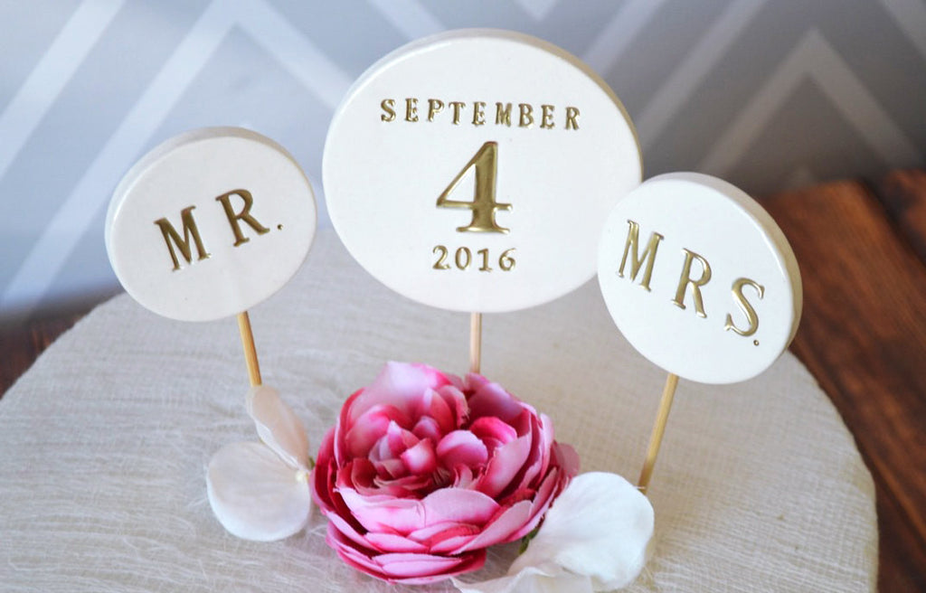 Wedding Cake Topper - PERSONALIZED with Date and Mr. and Mrs. Toppers