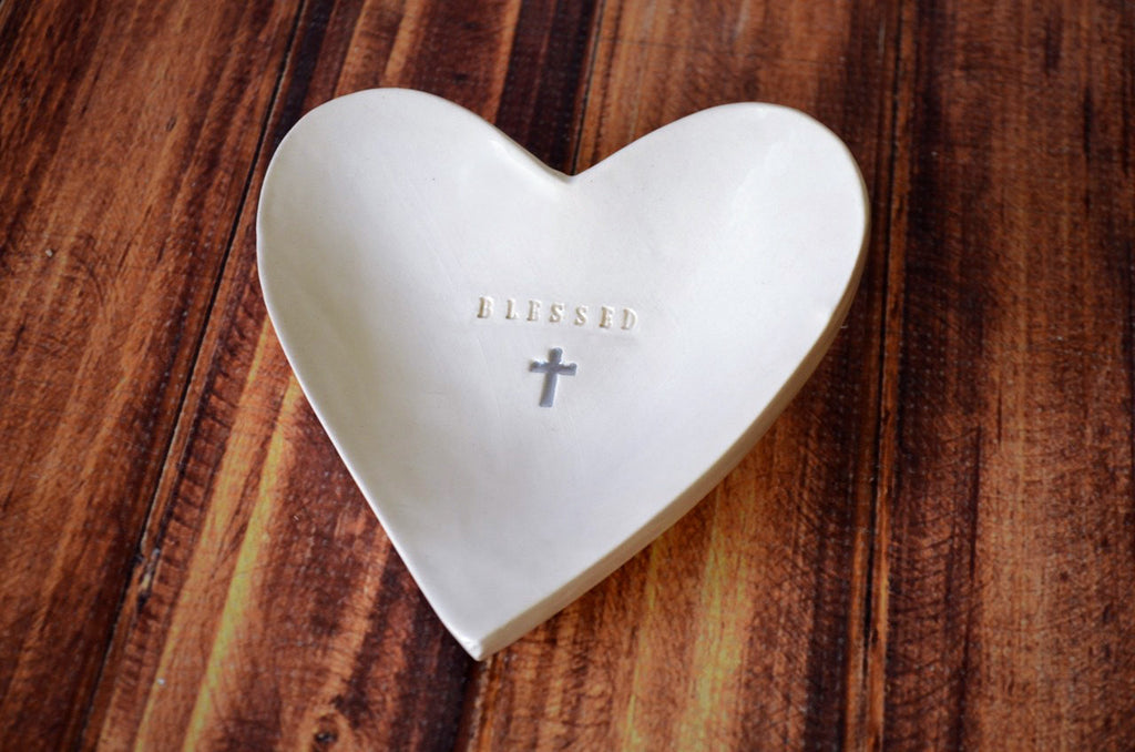 Blessed Heart Bowl with Cross - SHIPS FAST - First Communion Gift, Confirmation Gift, Baptism Gift