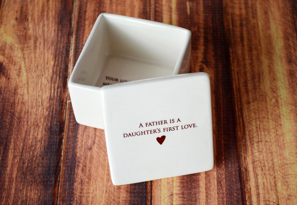 Father's of the Bride Gift - SHIPS FAST - Deep Square Keepsake Box - A Father is a Daughter's First Love - With Gift Box