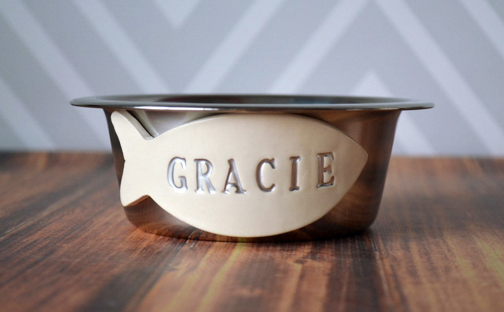 Personalized Set of Cat Bowls - Stainless Steel