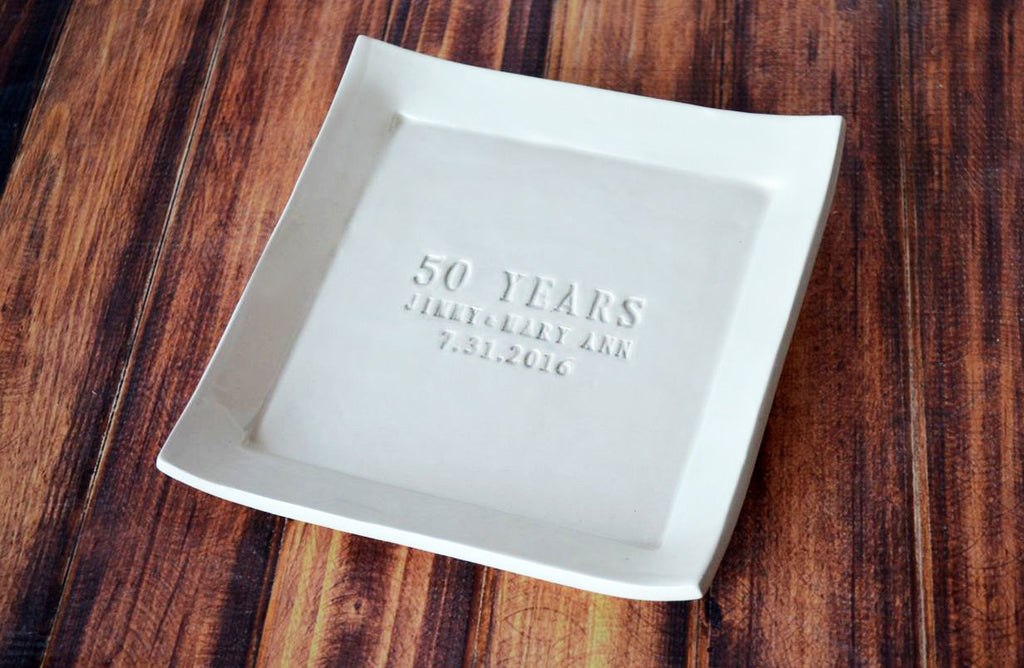 50th Anniversary Gift - Personalized Plate with Names & Date - Gift Boxed