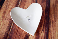 Baptism Gift or First Communion Gift - Personalized Small Heart Bowl with Name and Cross