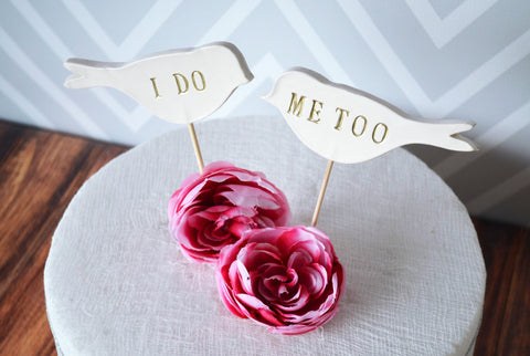 I Do Me Too Birds - Wedding Cake Toppers - small size