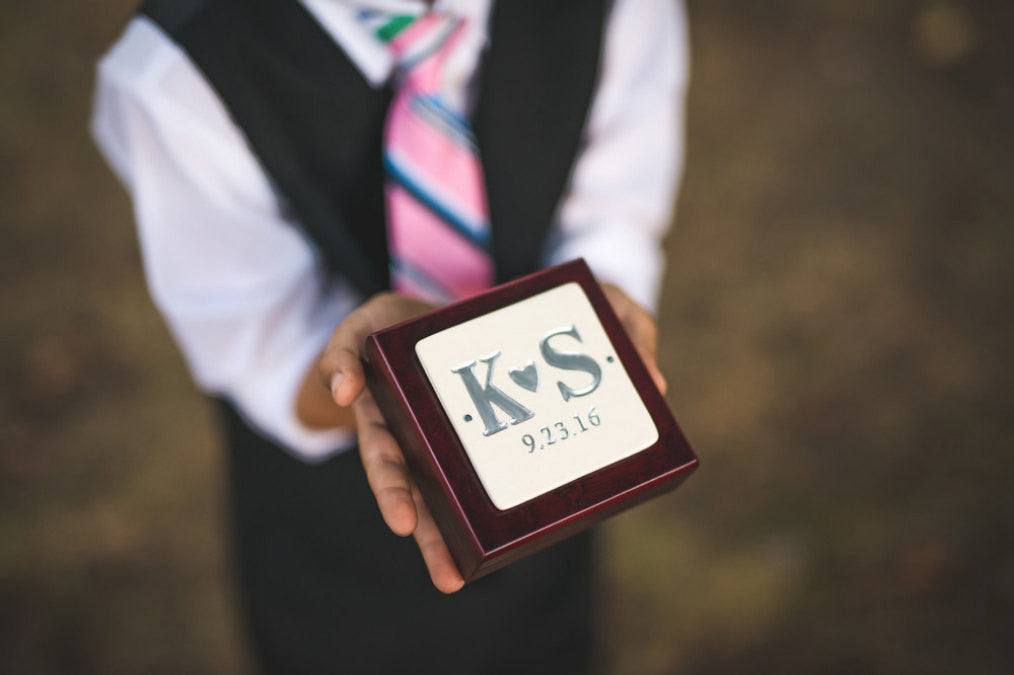 Ring Bearer Box - Personalized - Rosewood Finish