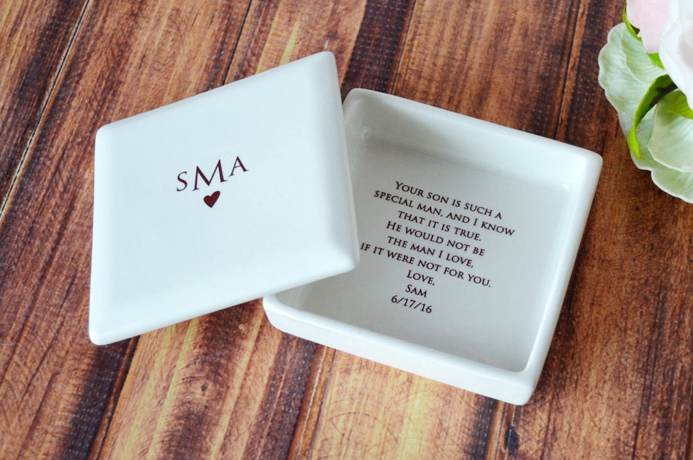Unique Mother of the Groom Gift - Monogrammed Square Keepsake Box