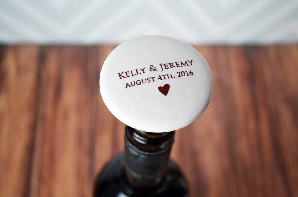 Wedding Gift or Engagement Gift - Personalized Wine Stopper with Names and Date - Comes with a Gift Bag
