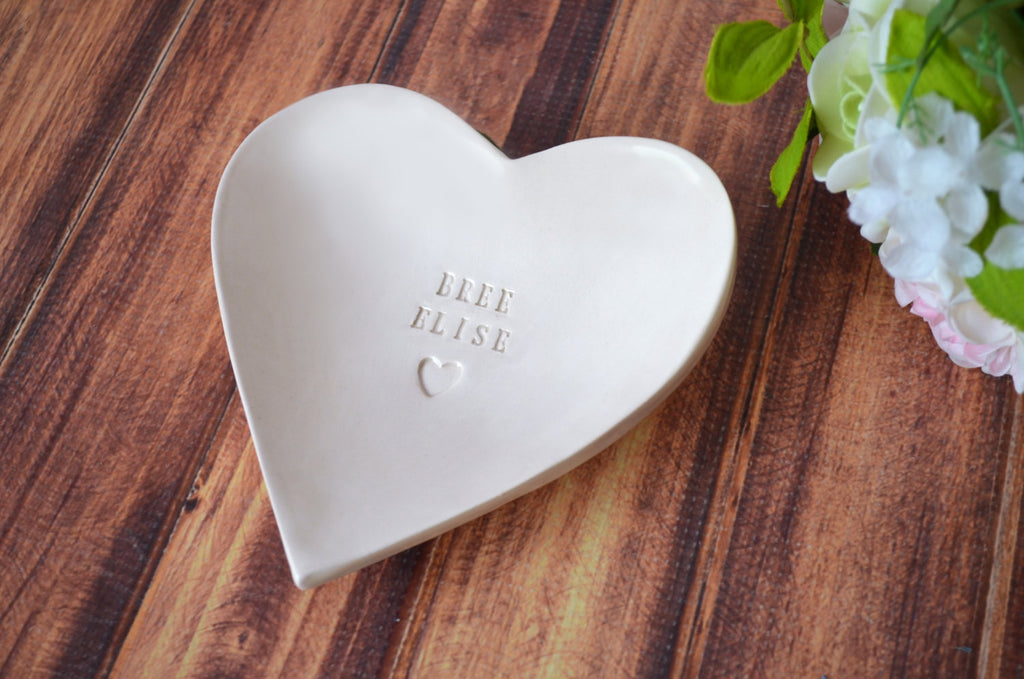 Baptism Gift - Large Personalized Heart Bowl with Heart Stamp