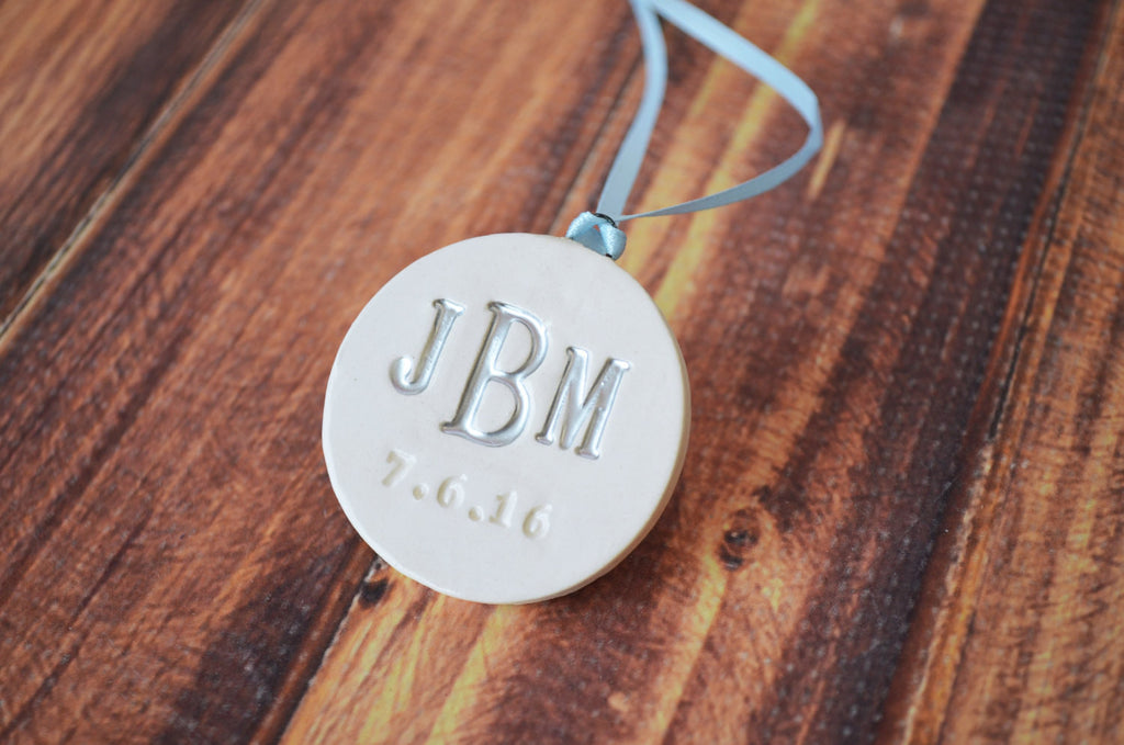 Large Round Personalized Wedding Bouquet Charm with Monogram and Date - Gift Boxed