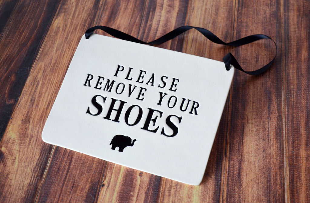Please Remove Your Shoes Sign - For Nursery or Child's Room - Handmade Ceramic Sign, Available in Different Colors
