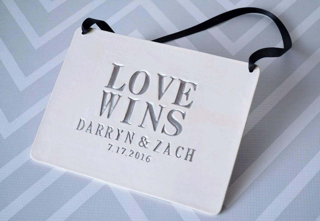 Love Wins Sign - Personalized with Names and Wedding Date -  Carry down the aisle and use as photo prop