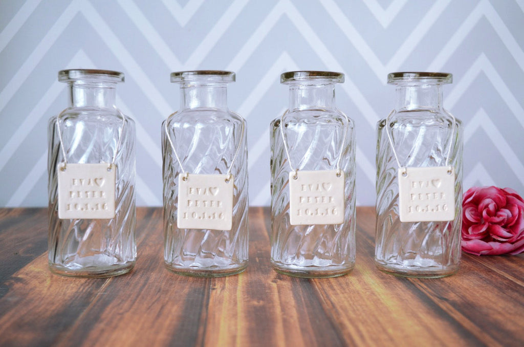 Bridesmaid Gift - Set of 4 Glass Bottle Vases
