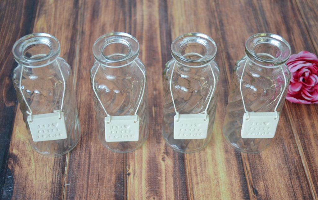 Bridesmaid Gift - Set of 4 Glass Bottle Vases - Gift Boxed & Ready to Give