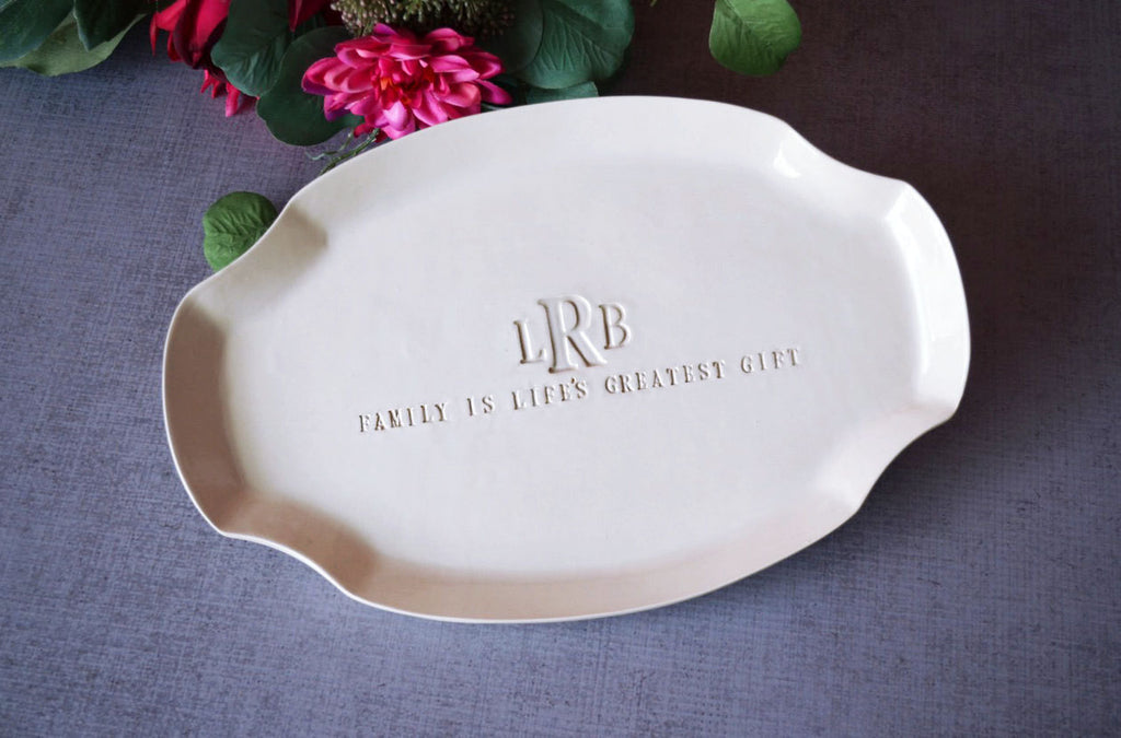 Wedding Gift, Anniversary Gift or Housewarming Gift - Family Is Life's Greatest Gift - Personalized Platter