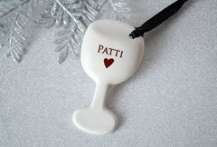 Wine Glass Ornament - Personalized with Name - Gift Boxed
