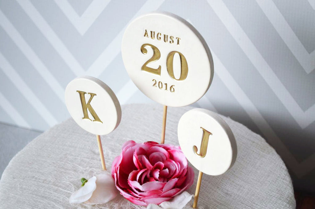 Wedding Cake Topper - PERSONALIZED - with Wedding Date and Initial Toppers