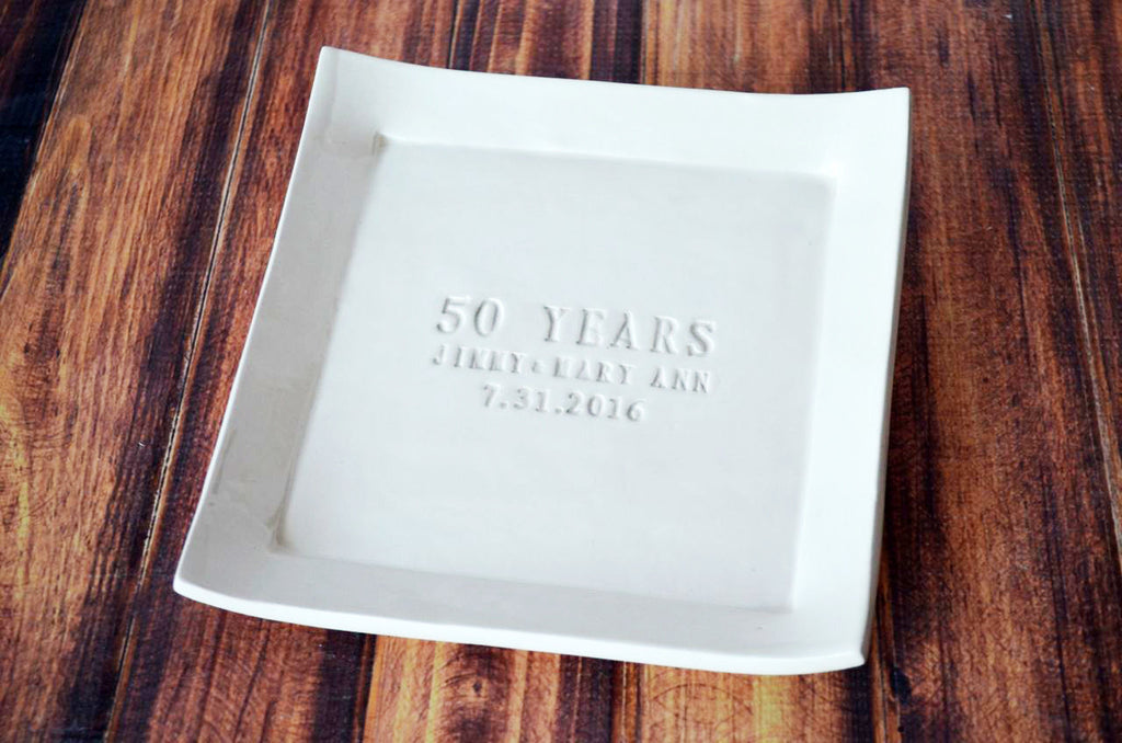 50th Anniversary Gift - Personalized Plate with Names & Date
