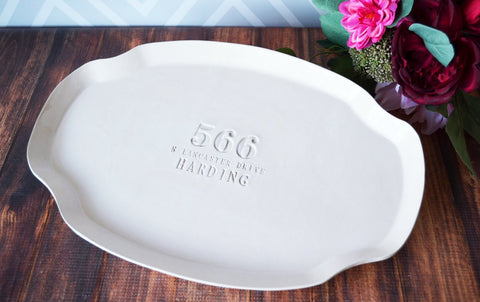Housewarming Gift or Wedding Gift - Custom Platter with Address and Name - Gift boxed