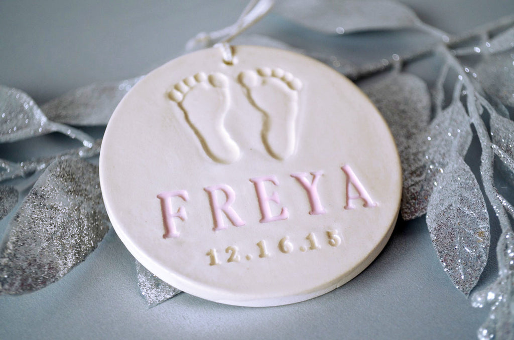 Baby's First Christmas Ornament with Footprint - Personalized - With Name and Date - Gift Boxed