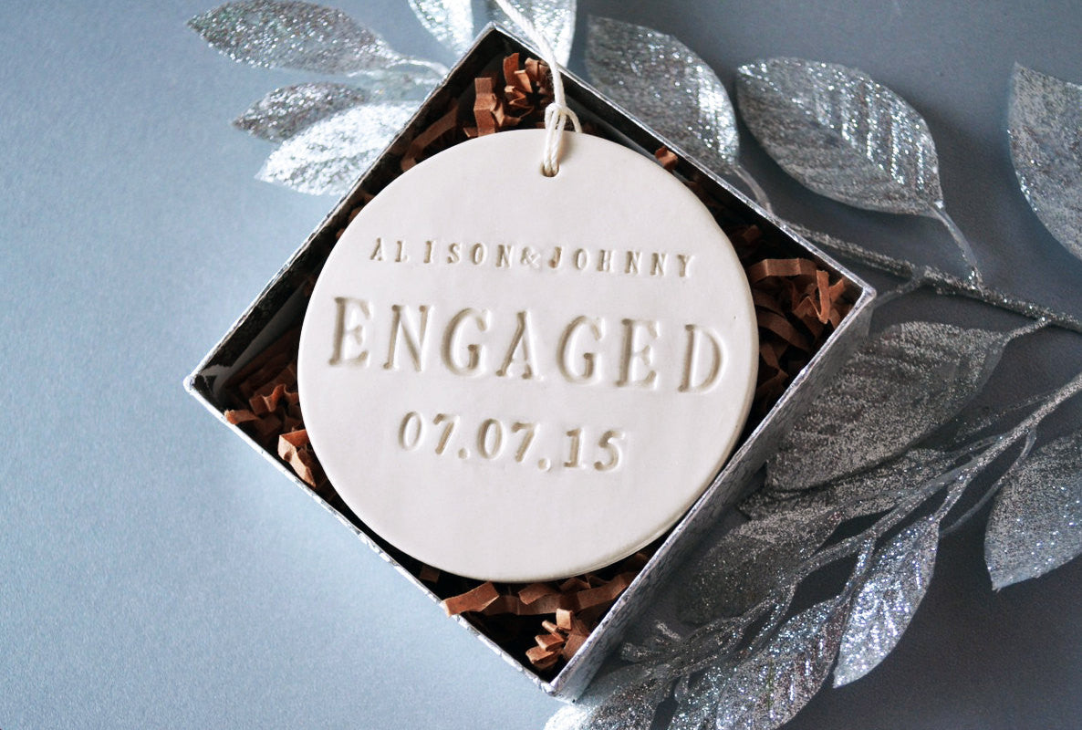 Engagement Ornament Engagement Gift Or Christmas Gift With Names And Date Gift Boxed