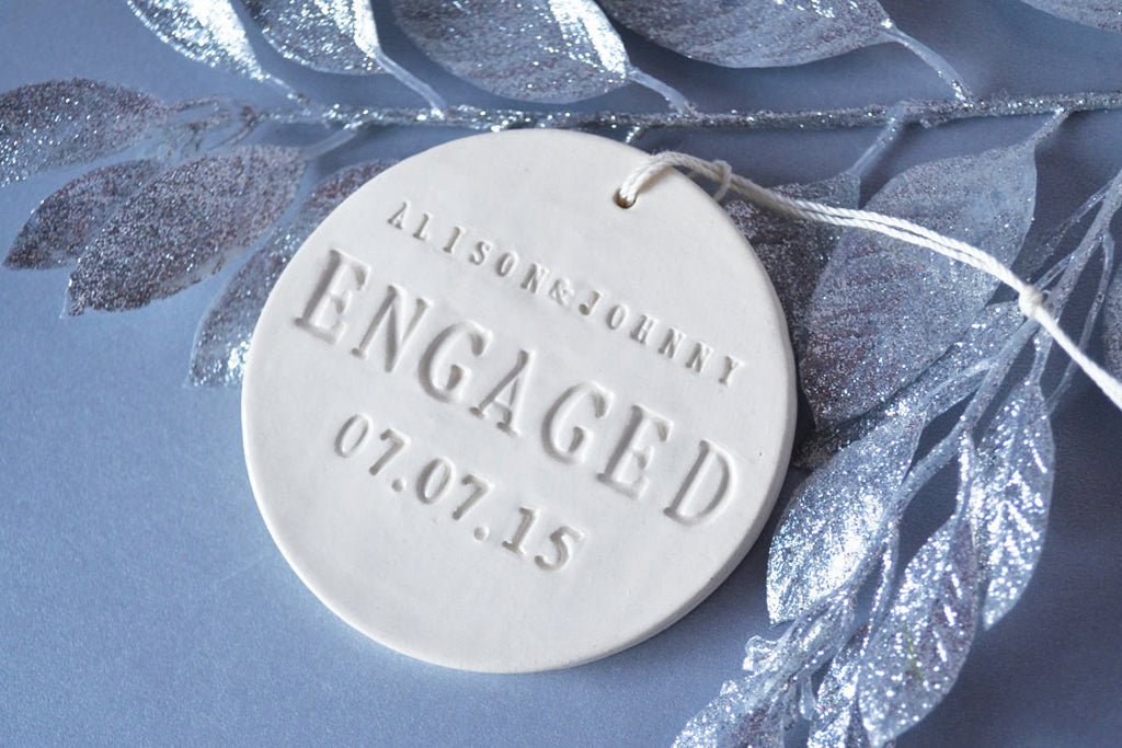 Engagement Ornament - Engagement Gift or Christmas Gift - With Names and Date - Gift Boxed