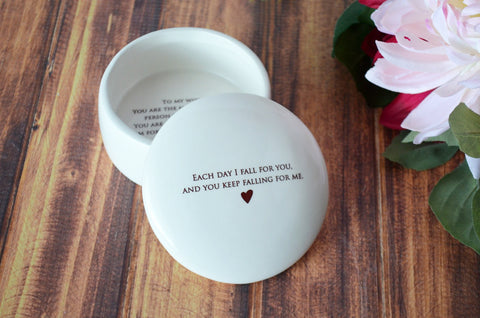 Groom Gift To Bride - Each Day I Fall For you, and You Keep Falling For Me - Keepsake Box - Gift Boxed