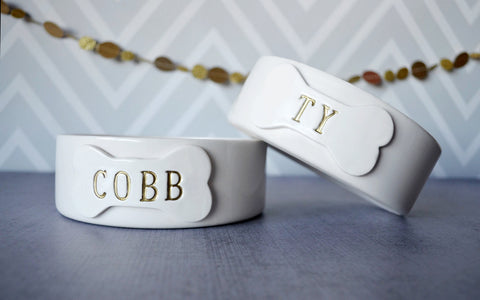 Personalized Dog Bowl - Bone Shaped Bowl - With Name and Paw Print - Ceramic Bowl