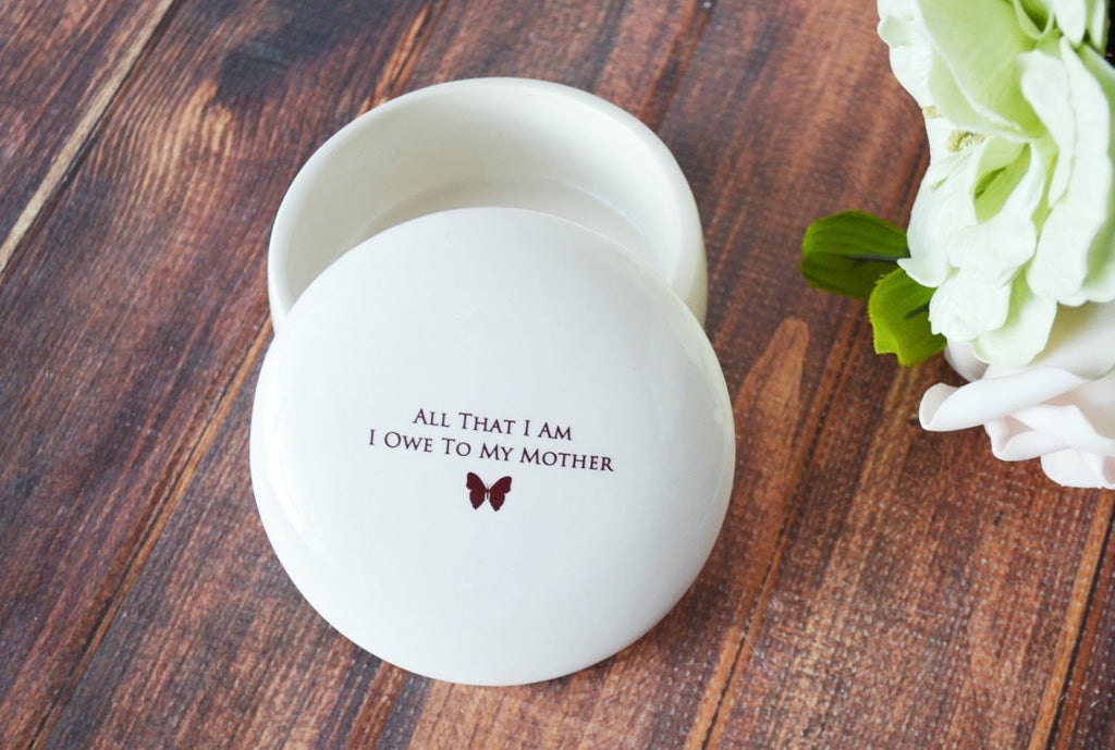 Unique Mother of the Bride Gift - All That I Am I Owe To My Mother - With Butterfly Graphic - Keepsake Box - Gift Boxed