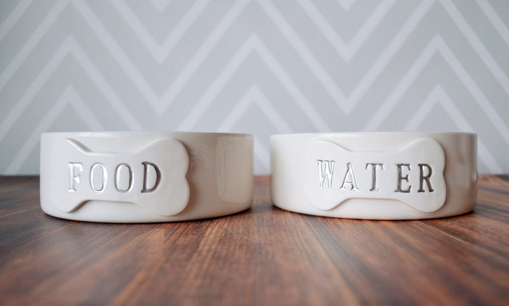Personalized Food or Water Dog Bowl - 1 Small/Medium Size Dog Bowl - Ceramic