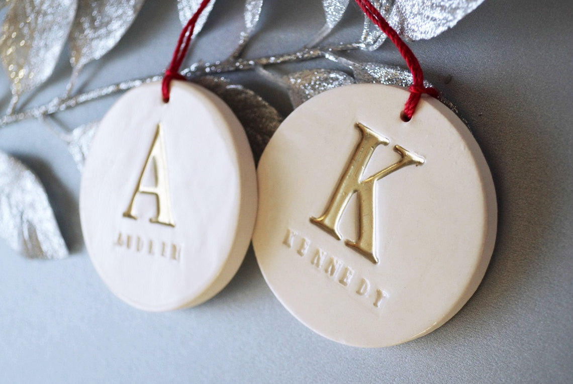 Set of 2 Customized Christmas Ornaments with Initial and Names ...