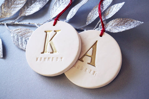 Set of 2 Customized Christmas Ornaments with Initial and Names, Available in Different Letter Colors - Gift Boxed and Ready To Give