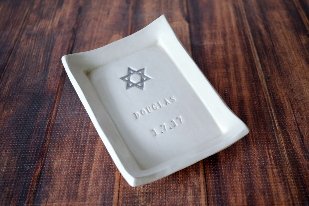 Bar Mitzvah or Bat Mitzvah Gift - Personalized Miniature Platter with Star of David