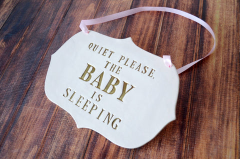 Baby is Sleeping Sign - Newborn Gift, New Baby Gift or Baby Shower Gift