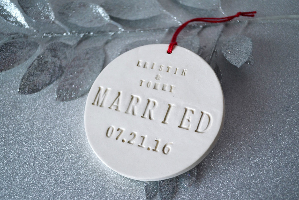 Just Married Ornament - Wedding Gift or Christmas Gift - Personalized
