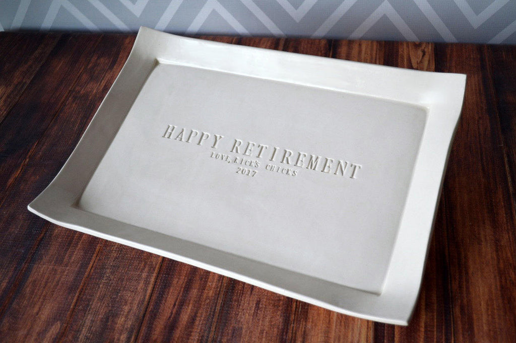 Unique Retirement Gift or Signature Guestbook Platter - Large Personalized Platter - Gift boxed
