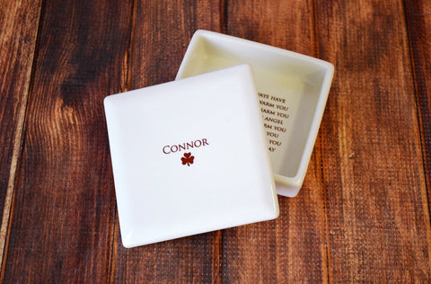 Baptism Gift or First Communion Gift - Personalized - With Irish Blessing - Round Keepsake Box - With Gift Box