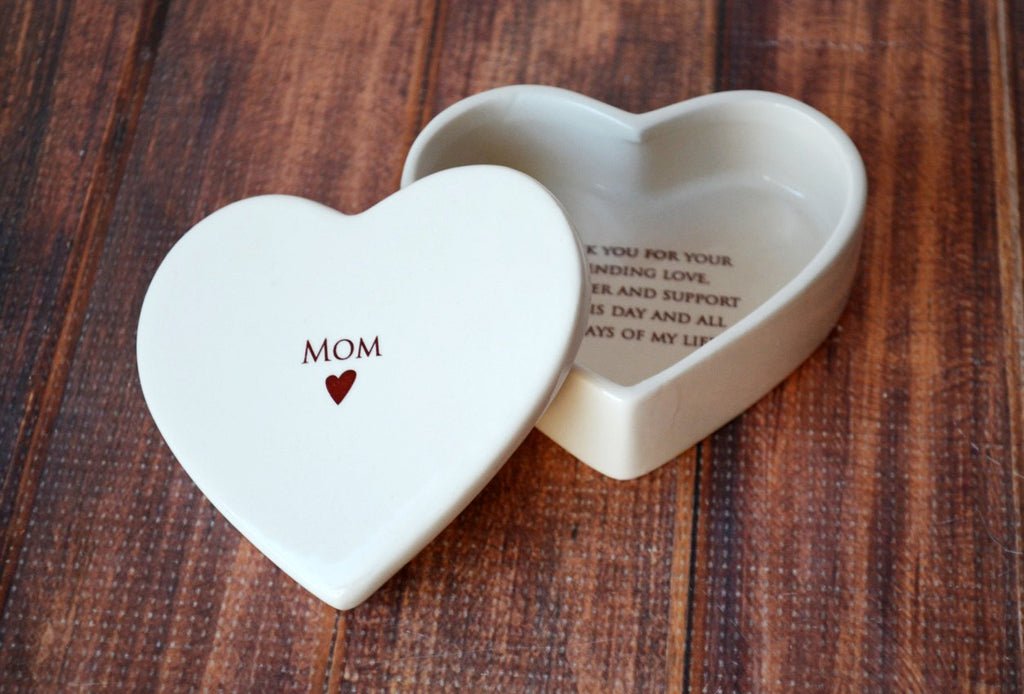 Mother of the Bride Gift , Mom Gift - Mom Heart Box- SHIPS FAST - Keepsake Box - With Gift Box