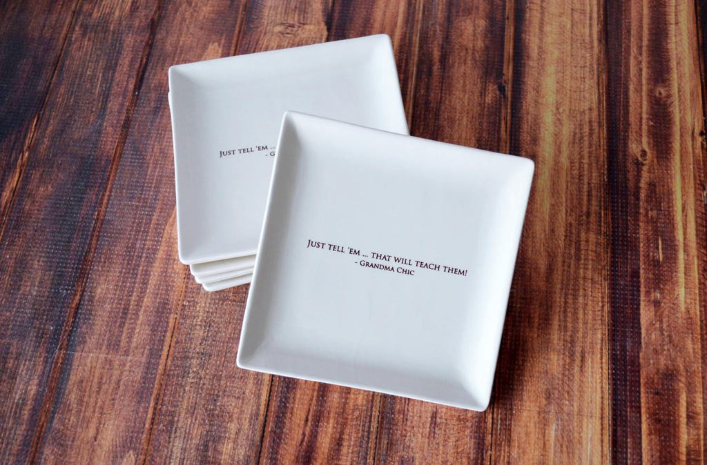 Appetizer Plates - Wedding Gift or Hostess Gift - Personalized - Set of 4 - With Gift Box