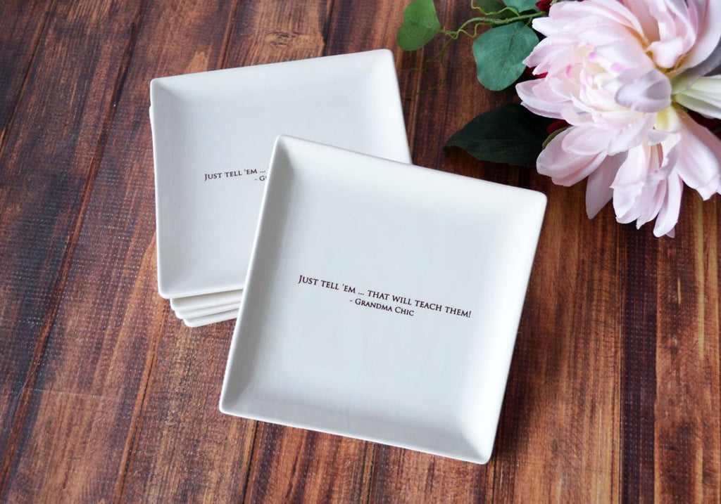 Appetizer Plates - Wedding Gift, Mother's Day Gift or Hostess Gift - Personalized - Set of 4 - With Gift Box