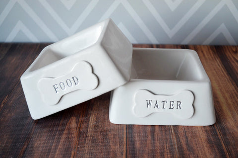 Personalized Food or Water Dog Bowl - 1 Square Small/Medium Size Bowl - Ceramic