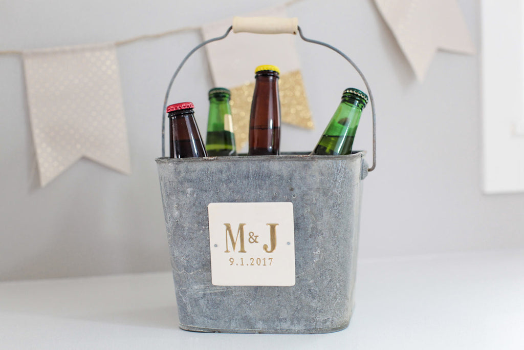 Beer Bucket or Ice Bucket - Wedding Gift, Anniversary Gift or Birthday Gift - Personalized - Antique grey color