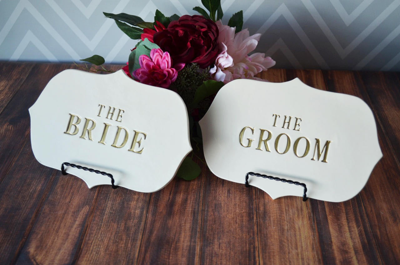 The Bride & The Groom Sign Set to Use on Wedding Reception Table and U