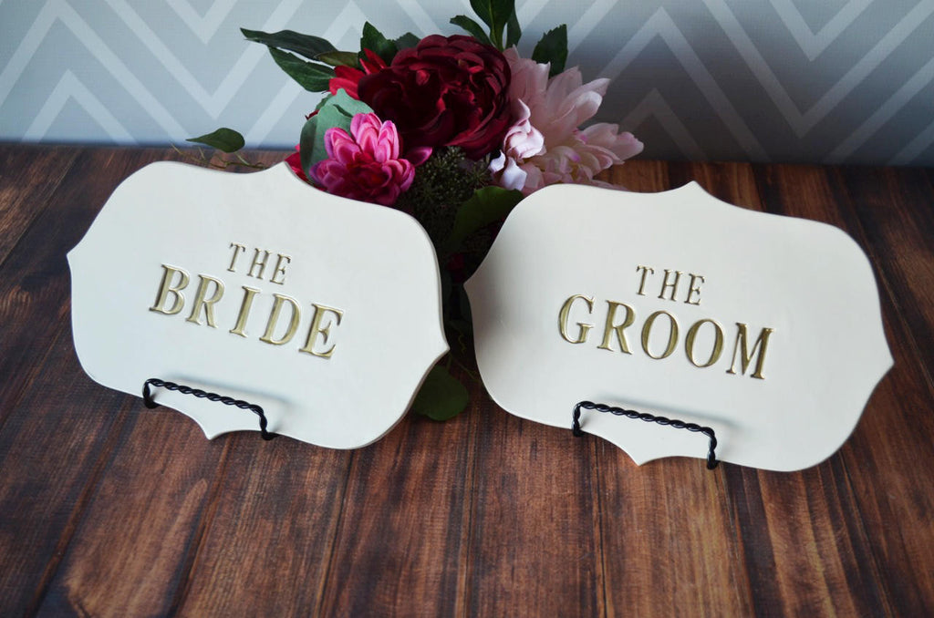 The Bride & The Groom Sign Set to Use on Wedding Reception Table and Use as Photo Prop