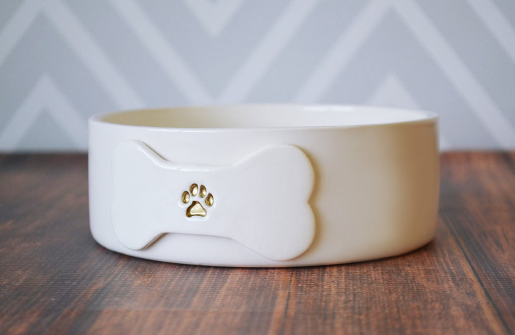 Personalized Dog Bowl - Small/Medium Size - With Name and Paw Print - Ceramic Bowl