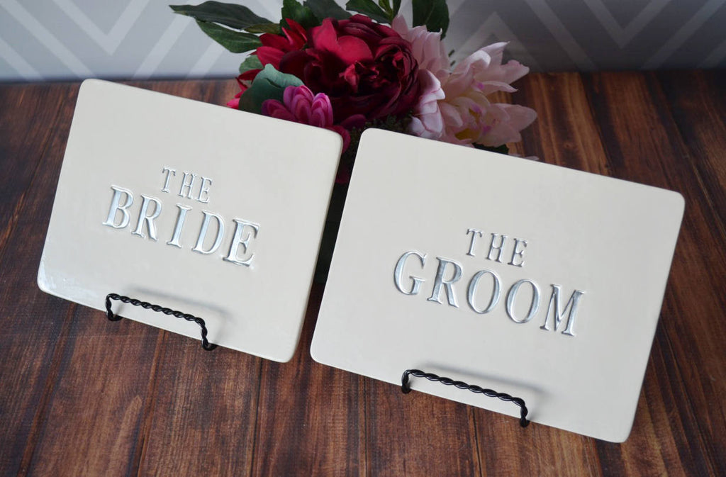 The Bride & The Groom Wedding Square Sign Set - Use on Reception Table and Use as Photo Prop