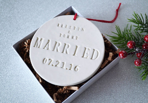Just Married Ornament - Wedding Gift, Bridal Shower Gift or Christmas Gift - With Names and Date - Gift Boxed